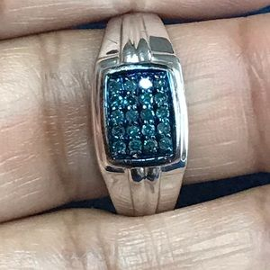 Men's Blue Diamond Silver Ring
